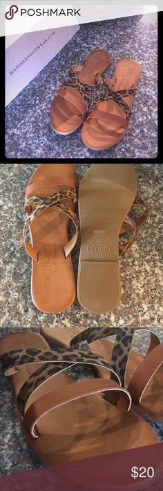 New in Box leather and leather strap sandals Perfect sandals by Matisse. Size 8 and true to size, cognac and leopard straps, comfort sole to mold to your foot. Murphy style in leopard. Anthropologie Shoes Sandals