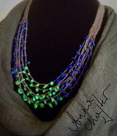 Multi Strand Necklace Summer Necklace Eco Jewelery Blue by Adanemi