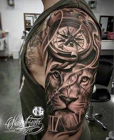 ▷ 1001 + ideas for an upper arm tattoo: the best designs - lion head with com. - ▷ 1001 + ideas for an upper arm tattoo: the best designs – lion head with compass, tattoos men - Half Sleeve Tattoos For Guys, Full Sleeve Tattoos, Tattoo Sleeve Designs, Tattoos For Guys Badass, Upper Arm Tattoos, Leg Tattoos, Body Art Tattoos, Tribal Tattoos, Maori Tattoos