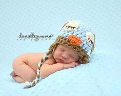 SALE Newborn Owl Hat baby blue brown crochet boy girl Photo Studio Prop Hats sleepy sleeping awake hoot boy girl
