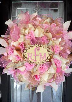 Mother's Day Gift, Baby Shower Decoration, Monogram Wreath, Door Hanger, Pink and Gold