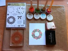 PAINTING WITH EMBOSSING POWDERS TECHNIQUE