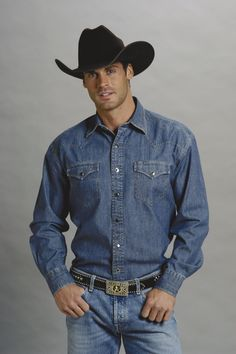 f8eff4e8fda Stetson Mens Blue 100% Cotton L S Tall Two Pocket Denim Western Shirt