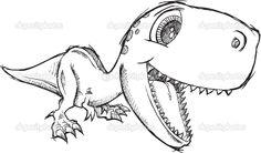 Эскиз каракули мило тиранозавр Рекс динозавра вектор - Стоковая иллюстрация: 38432929