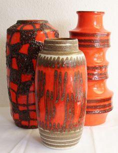 Orange ceramic vases #pottery
