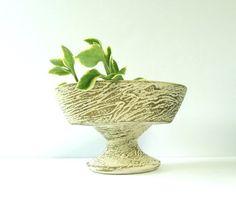 Vintage McCoy Pottery Faux Bois Oval Pedestal by BeppieandEido