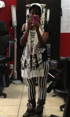 Get this look: http://lb.nu/look/4528209  More looks by Ipukekawaii Imani K. Brown: http://lb.nu/ipukekawaii  Items in this look:  H. Naoto Neko Scoodie, Obey Records Tee, Fan Plus Friend Beetlejuice Leggings, Adidas Decades
