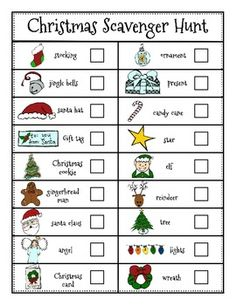 Christmas Literacy Center: Christmas Scavenger Hunt : You could have students search for these items on bulletin boards around the school, Or have this scavenger hunt be a fun center at your Christmas party! Holiday Party Games, Kids Party Games, Holiday Fun, Holiday Parties, Halloween Party, Holiday Ideas, School Christmas Party, Family Christmas, Christmas Holidays