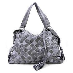 New Sexy Grey Designer Basket Weave Handbag/Purse, $45