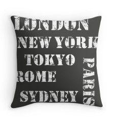 cities throw pillow black