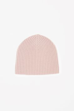 COS image 4 of Ribbed cashmere hat in Pink