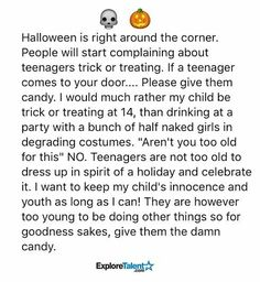 14 yr old trick or treat