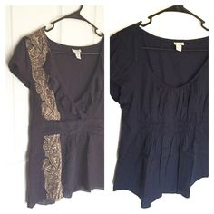 listing Anthropologie Bundle of Tops Size 12 Two blue short sleeve tops size12 . Odille for Anthropologie. One deep indigo 100% silk with ruffle and patterned fabric accent, one navy 97%cotton 3% spandex. Great deal!! Anthropologie Tops Blouses