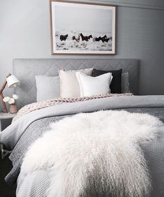 Bedroom inspiration - Greys, white and soft pink.