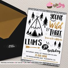 Young Wild and Three Birthday invitation Tribal by CutePartyDash