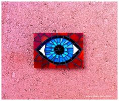 Mosaic eye. Stained glass and found porcelain on MDF. www.ampriceart.com
