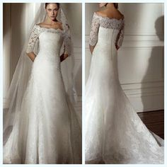 2011 Sexy Off-the-shoulderA-line Half Sleeve Appliqued Satin Long Sleeve Lace Wedding Dresses