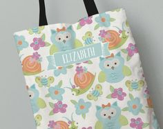 Personalized Kid's Tote Bag | Owls and Snails Tote Bag | Kids Gift Idea | All Over Print Tote for Kids | Custom Back to School Tote Bag