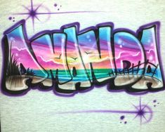 Personalized Airbrushed Beach Scene T-Shirt; Painted with ANY Name, or Colors you Choose!