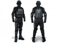 full body hard shell riot control suit. Oh sweet Jesus I want to wear this to the zombie walk.