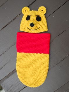 Crochet Pooh Cocoon and Hat - image only, pinned for inspiration.