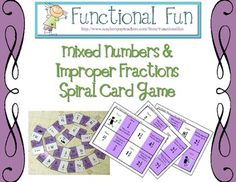 Mixed Numbers and Improper Fractions Spiral Card Game- Freebie
