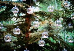 Woodland wedding ceremony backdrop: Hanging Glass Votive Bulbs