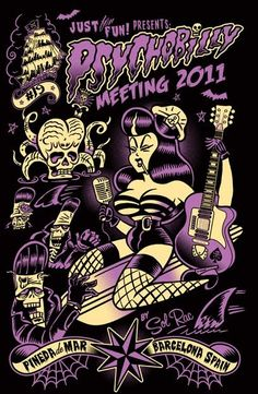 Psychobilly Meeting - Pineda De Mar, Barcelona, Spain rockabilly pinup riding bomb by sol rac Rock Posters, Concert Posters, Rockabilly Pin Up, Rockabilly Dresses, Pin Up Tattoos, Tatoos, Gothabilly, Pin Up Outfits, Vintage Horror