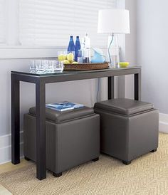 Could even store those cubes under that table behind the sofa for storage and/or extra seating when needed.