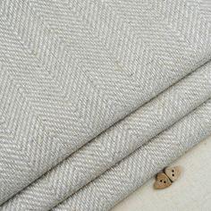Natural linen herringbone weave fabric / curtain blind vintage grey beige