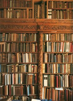 Bookcase. Not sure which I like more; the old books, the sideways books, or the beautiful wood trim. #books #bookcase