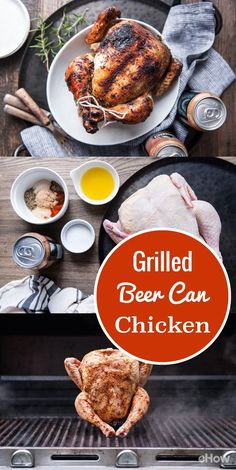 """Beer Can Chicken is easily the most notorious """"cooking with beer"""" recipe in America, and with good reason. Just look at that mahogany bird, with the perfectly even browning, the juice dripping down the side, and the beautifully crisp skin. Cooking the chicken upright over indirect heat allows the entire thing to cook evenly without turning it once. The beer steams the chicken from within, helping to cook the bird while keeping it incredibly moist and tender. Can Chicken Recipes, Beer Recipes, Grilling Recipes, Great Recipes, Cooking With Beer, What's Cooking, Cooking Time, Green Egg Recipes, Beer Can Chicken"""