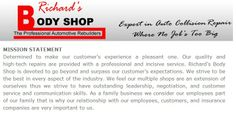Richards Body Shop - Mission Statement Collision Repair, The Body Shop, Shopping