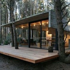 Container House - la maison en bois dans la foret en soiree - Who Else Wants Simple Step-By-Step Plans To Design And Build A Container Home From Scratch? Building A Container Home, Container House Plans, Container Homes, Contemporary Architecture, Interior Architecture, Interior Modern, Nature Architecture, Casas Containers, Forest House