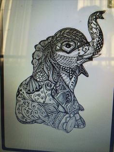 Cute mandala tattoo design of an elephant! Love it!