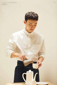 'EXO (엑소) Cafe Universe - Chen (첸)' Poster by wehet Exo Chen, Exo Exo, Kyungsoo, Sehun Oh, Exo Chanbaek, Kris Wu, Barista, Exo Style, K Pop
