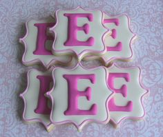 One Dozen Elegant Monogram Decorated Sugar Cookies For Wedding, Anniversary, Engagement Party, Shower, Birthday Or Any Special Occasion No Bake Sugar Cookies, Fancy Cookies, Iced Cookies, Cute Cookies, Royal Icing Cookies, Cupcakes, Cupcake Cookies, Monogram Cookies, Stenciled Cookies