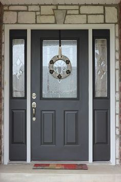 Front Door Paint Colors - Want a quick makeover? Paint your front door a different color. Here a pretty front door color ideas to improve your home's curb appeal and add more style! Dark Grey Front Door, Gray Front Door Colors, Grey Doors, Teal Door, Black Door, Painted Exterior Doors, Exterior Door Colors, Painted Front Doors, Exterior Design