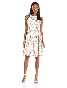 Julian Taylor Womens Floral Printed Trapeze Dress IvoryCoral 16 >>> You can get more details by clicking on the image.
