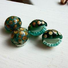 Maya-Honey Lampwork: Teal and Blue lampwork beads