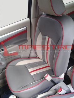 car auto interior custom red tan and grey seats and door panels console