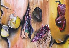 The Controlled Test (Art exam) requires that students develop their ideas. This preparatory piece shows the first hint at a disintegration of form: objects fade into line and then into the background… Student Art Guide, A Level Art Sketchbook, Growth And Decay, Ap Studio Art, Still Life Drawing, Organic Art, Gcse Art, Traditional Paintings, Fruit Art