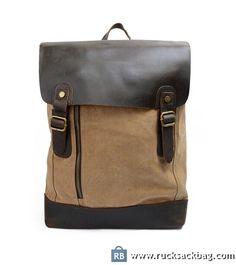 $79 Canvas Travel Backpack Canvas Book Bag Rucksack Mens Khaki
