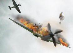 WW2 Spitfire, On Fire!   dfiharryhughes