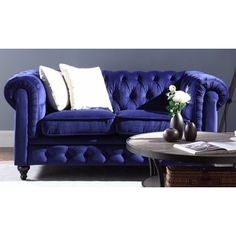 Shop for Classic Scroll Arm Tufted Velvet Chesterfield Loveseat in Navy. Get free shipping at Overstock.com - Your Online Furniture Outlet Store! Get 5% in rewards with Club O!