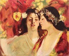 Spring (Two Muses) - Stefan Luchian Art Nouveau, Romantic Paintings, Dancing In The Moonlight, Academic Art, Pre Raphaelite, Art Database, New Art, Spring, Modern Art