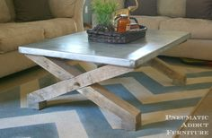 Zinc Top Coffee Table Tutorial: Pottery Barn Knock-Off-love this metal topped table