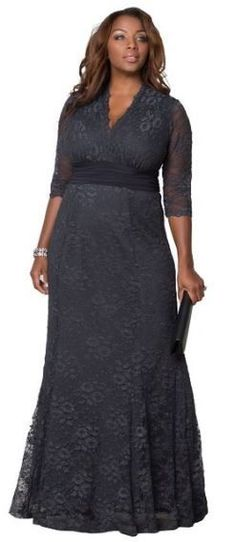 Plus Size Gowns - Screen Siren Lace Gown - Kiyonna Plus Size Gowns Formal, Plus Size Evening Gown, Lace Evening Gowns, Formal Gowns, Formal Wear, Grey Plus Size Dresses, Formal Dress, Casual Wear, Vestidos Mob
