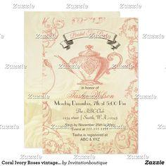268 best bridal shower invitations and ideas images on pinterest in coral ivory roses vintage bridal tea invites filmwisefo