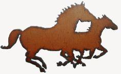 Rustic Western Decor Running Horses Rustic Metal Kitchen Magnet Equestrian Art
